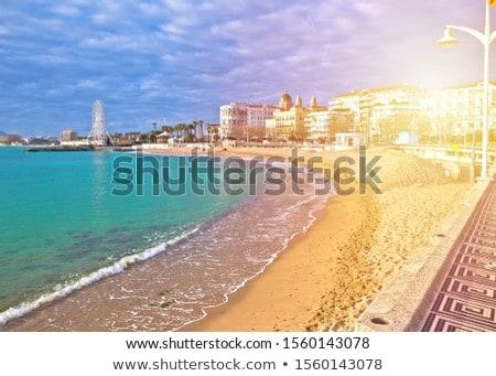 Saint Raphael beach and waterfront sun haze view Stock photo © xbrchx