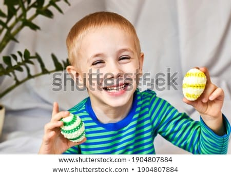 Holiday and festive event concept. Happy five small children clap hands, look at sparkle from cake,  Stock photo © vkstudio