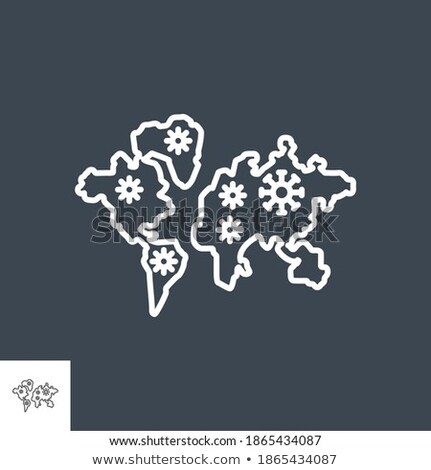Spreading world map related vector thin line icon. Stock photo © smoki