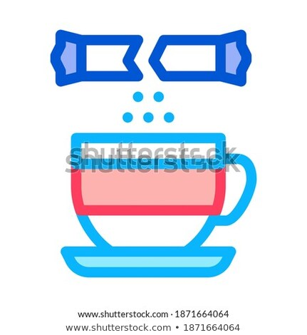 sprinkle sugar in cup of tea icon vector outline illustration Stock photo © pikepicture