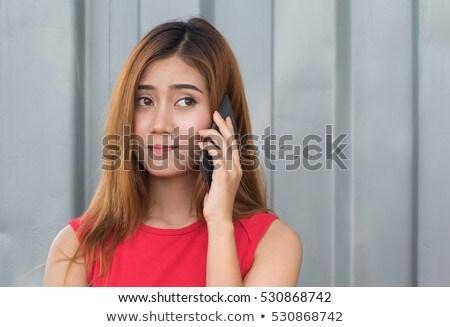 Confundirse hablar teléfono móvil foto Foto stock © deandrobot