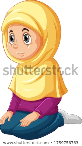 Árabe muçulmano menina sessão posição Foto stock © bluering