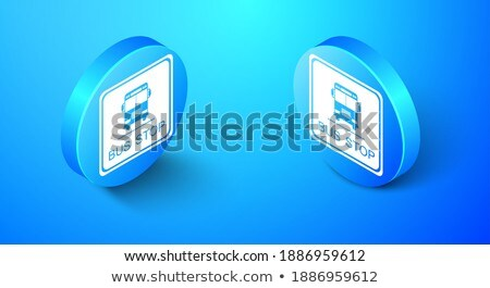 Blauw witte stoppen vierkante icon web Stockfoto © jarin13