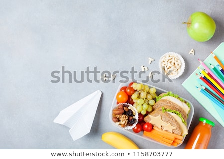 Autumn back to school. Office supplies on table top view Stock photo © orensila