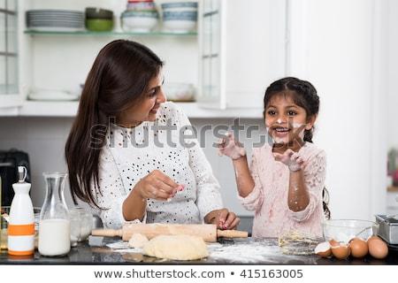 Retrato alegre mãe filha farinha cozinha Foto stock © LightFieldStudios