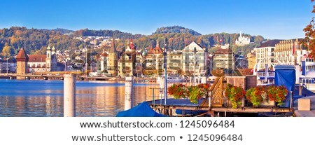 City of Lucerne lake waterfront and harbor view Stock photo © xbrchx