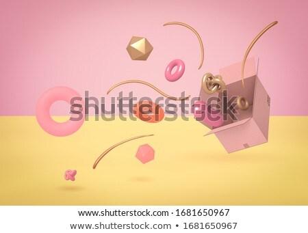 Kreatív kettő karton dobozok rózsaszín űr Stock fotó © artjazz