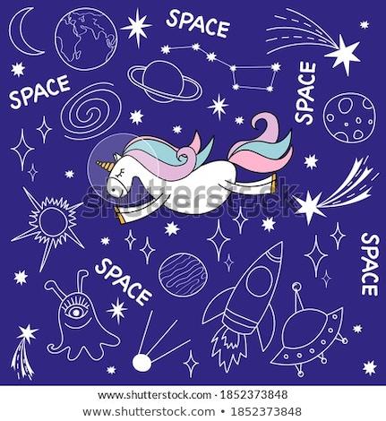 Unicorn on sky template Stock photo © bluering
