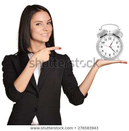 Foto d'archivio: Imprenditrice · clock · isolato · bianco · business · donna