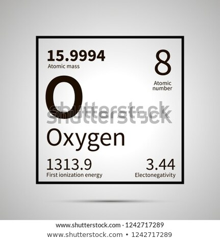 Oxygen chemical element with first ionization energy, atomic mass and electronegativity values ,simp Stock photo © evgeny89