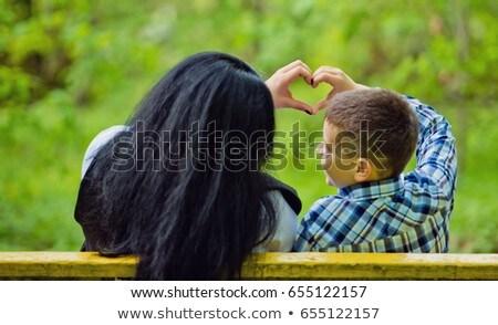 Kéz fiú szív szeretet gyerekek háttér Stock fotó © meinzahn