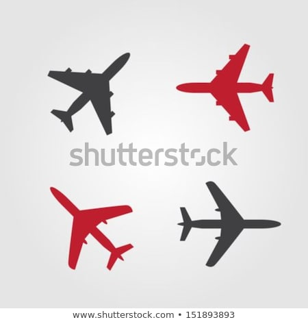 Stock photo: Airplane Sign Red Vector Icon Design