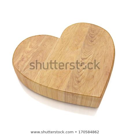 Wooden heart handcraft isolated on white Stock photo © lunamarina