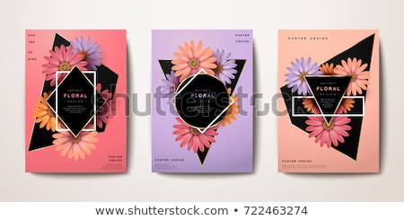 Card template with pink calendula frame Stock photo © bluering