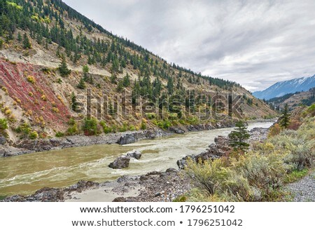 autumn landscape with a river in the mountains stock photo © kotenko
