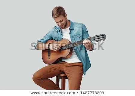 Zenész játék gitár stúdió szép férfi Stock fotó © Lopolo