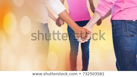 Borstkanker vrouwen holding handen overgang digitale composiet vrouw Stockfoto © wavebreak_media
