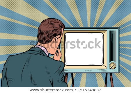 male viewer watching TV. Television propaganda, film and news Stock photo © studiostoks