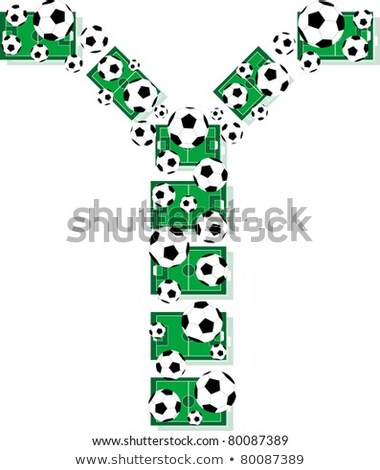 Y Alphabet Football Letters Made Of Soccer Balls And Fields Stock fotó © fotoscool