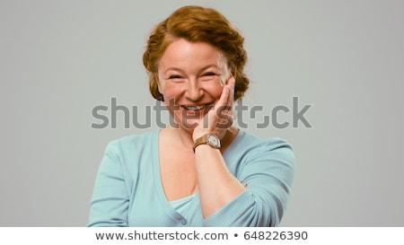 Kopott színésznő mutat érzelmek öröm szőke nő Stock fotó © NeonShot