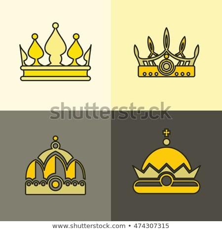 Gouden ingesteld stijl ontwerp kroon sieraden Stockfoto © SArts