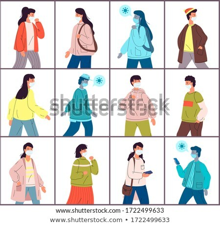 Conjunto ilustrações jovem saudável pessoas vírus Foto stock © robuart