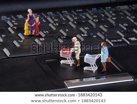 ミニチュア · 人 · アクション · コンピュータのキーボード - ストックフォト © jeancliclac