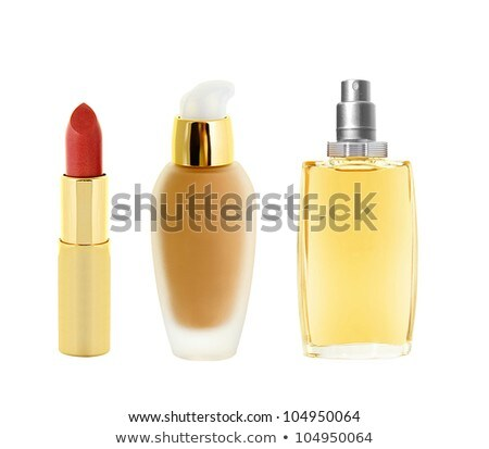 red lipstick in golden tube< makeup foundation and perfume isola Stock photo © tetkoren