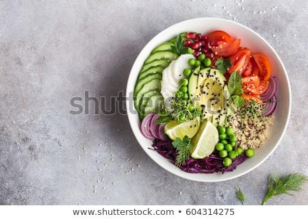 friss · zöld · saláta · fehér · étel · asztal - stock fotó © fuzzbones0