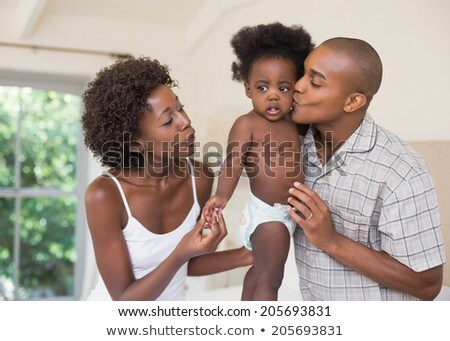 Elöl kilátás boldog afroamerikai szülők aranyos Stock fotó © wavebreak_media