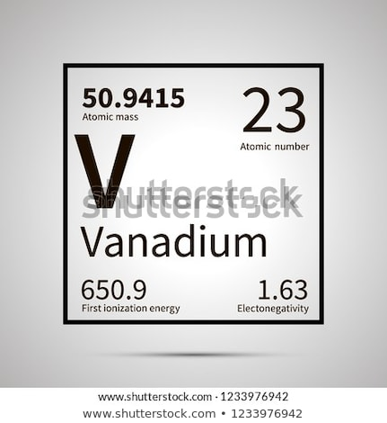 Vanadium chemical element with first ionization energy, atomic mass and electronegativity values ,si Stock photo © evgeny89