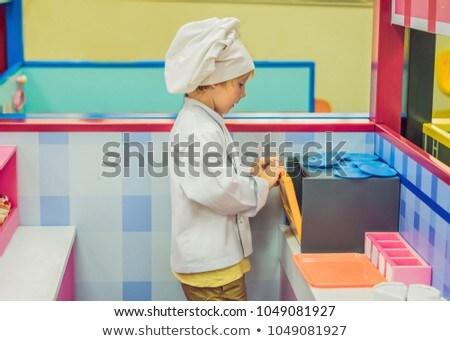 Fiú játék szakács pék konyha kéz Stock fotó © galitskaya