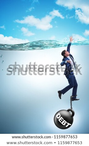 Businessman drowning in concept of high debt Stock photo © Elnur