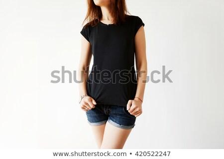 Blond woman modeling blank black shirt Stock photo © sumners