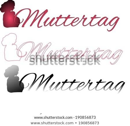 Set Mothers Day Shadow Of Mother Baby In German Stok fotoğraf © impresja26