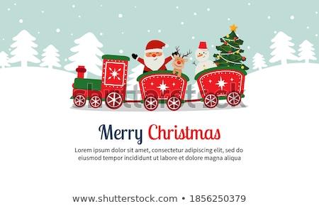 karácsony · vonat · mikulás · játék · ajándékok · hóember - stock fotó © aiel