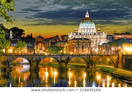 Belo ver Roma ponte Itália noite Foto stock © tannjuska