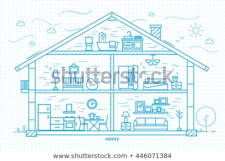House Equipments Square Vector Blue Icon Design Set Stock photo © rizwanali3d
