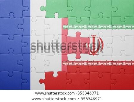 Franciaország Irán zászlók puzzle izolált fehér Stock fotó © Istanbul2009