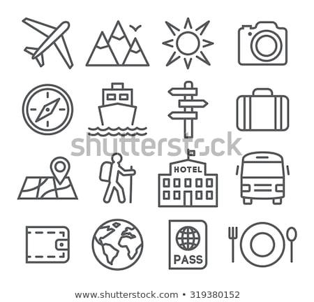 klasszikus · bőrönd · funky · matricák · izolált · fehér - stock fotó © rastudio