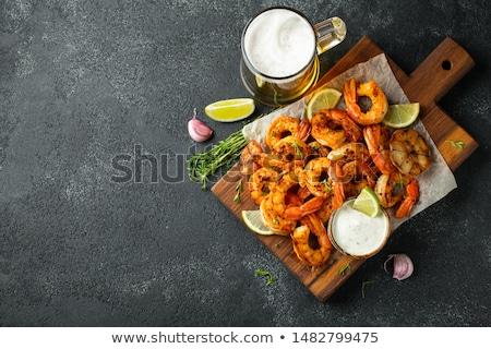 Gegrild serveerschaal voorraad foto voedsel Stockfoto © nalinratphi