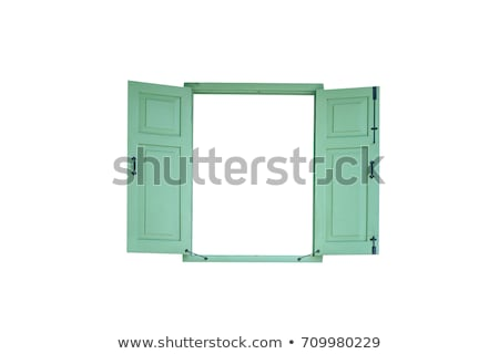 Photo stock: Vieux · vert · bois · fenêtre · jaune · façade