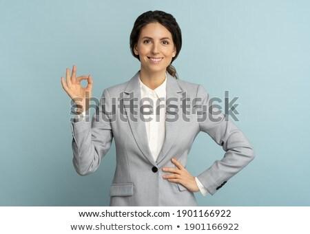 mujer · sonriente · signo · sonriendo · morena - foto stock © deandrobot