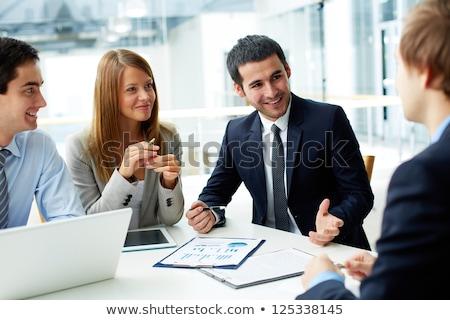 Бизнес-партнеры документы заседание иллюстрация Сток-фото © ConceptCafe