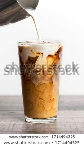 Ijs koffie drinken achtergrond tabel melk Stockfoto © racoolstudio