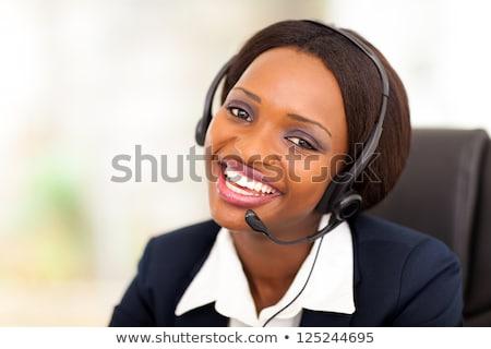 Werknemer Blauw werk pak Geel helm Stockfoto © derocz