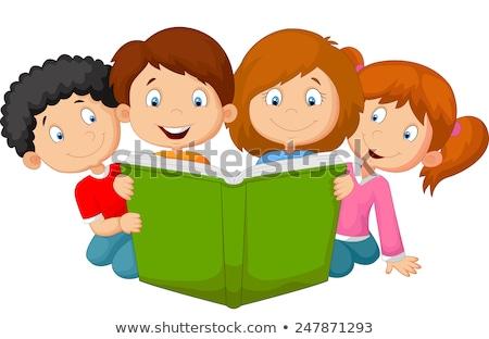 keret · sablon · gyerekek · olvas · könyvek · illusztráció - stock fotó © colematt