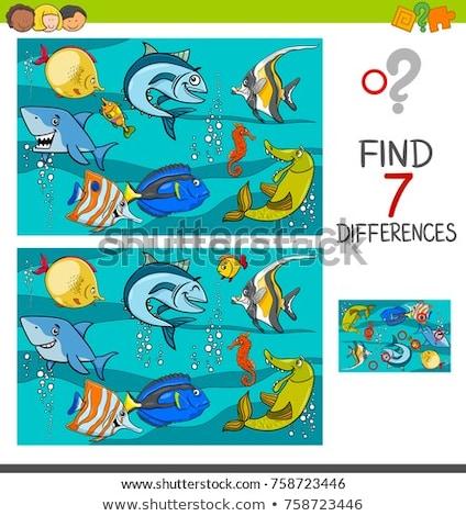 Yedi sualtı balık kâğıt sanat imzalamak Stok fotoğraf © colematt