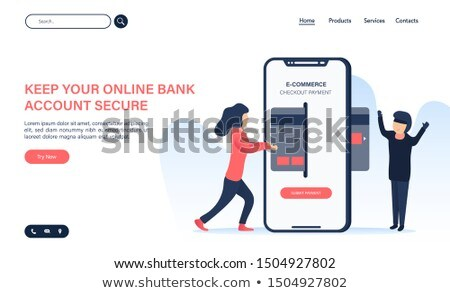 Flat isometric vector landing page template of secure online storage. Stock photo © TarikVision