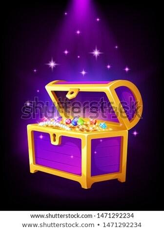Açmak mor göğüs altın madeni para takı Stok fotoğraf © MarySan